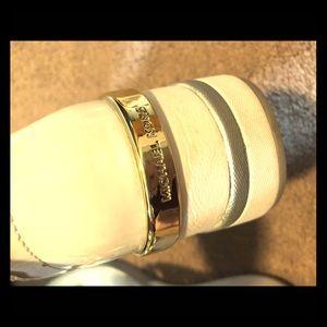 7.5 Michael kors white gold shoes
